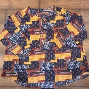 Rue+ long sleeve split neck blouse